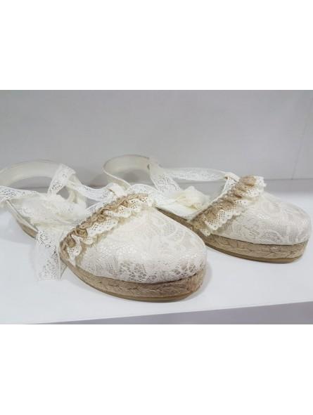 Zapato comunión niña esparto cuerda